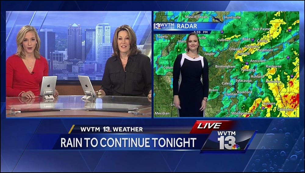 Figure 5.19 . . . a shot of the anchors, Brittany Decker and Lisa Crane, in a split screen with meteorologist Harmony Mendoza.