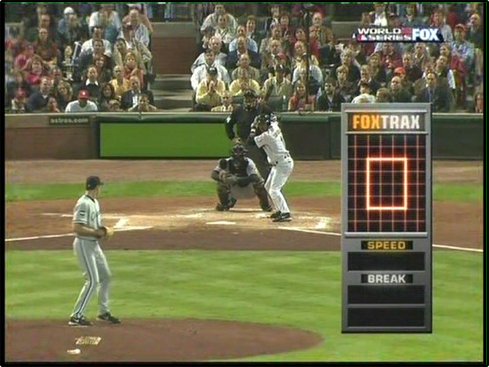 Figure 5.21 . . . that does not appear in the replay of the same pitch. It was added using green-­screen technology.