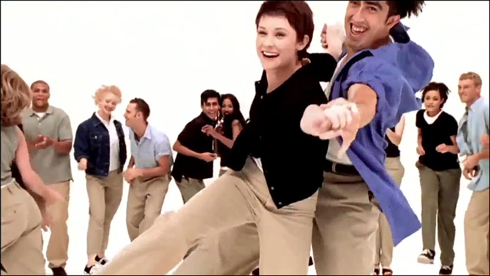 Figure 6.2 Dancers dressed in khaki pants gleefully connect with one another in a Gap commercial.