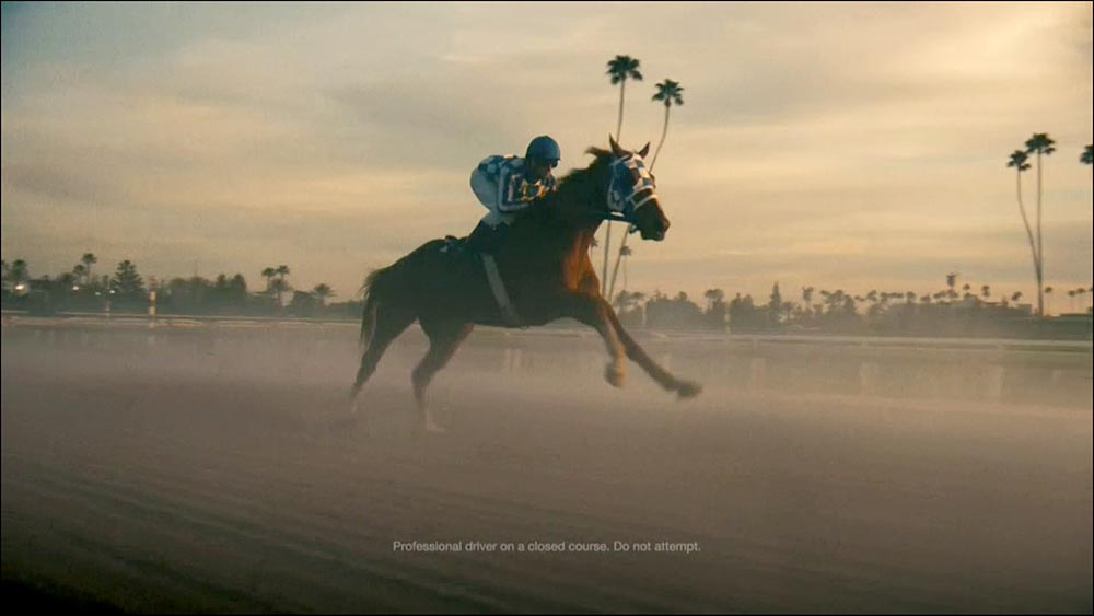 Figure 6.15 . . . a horse on the same track as the narrator talks about the strengths of the famous racehorse Secretariat.
