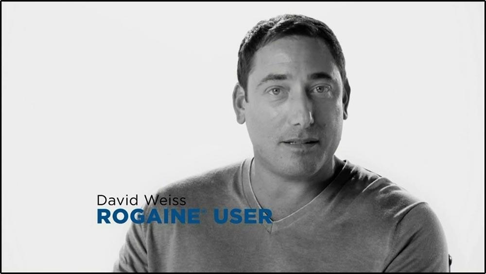 Figure 6.20 A Rogaine user looks directly at the camera as he presents his testimonial.