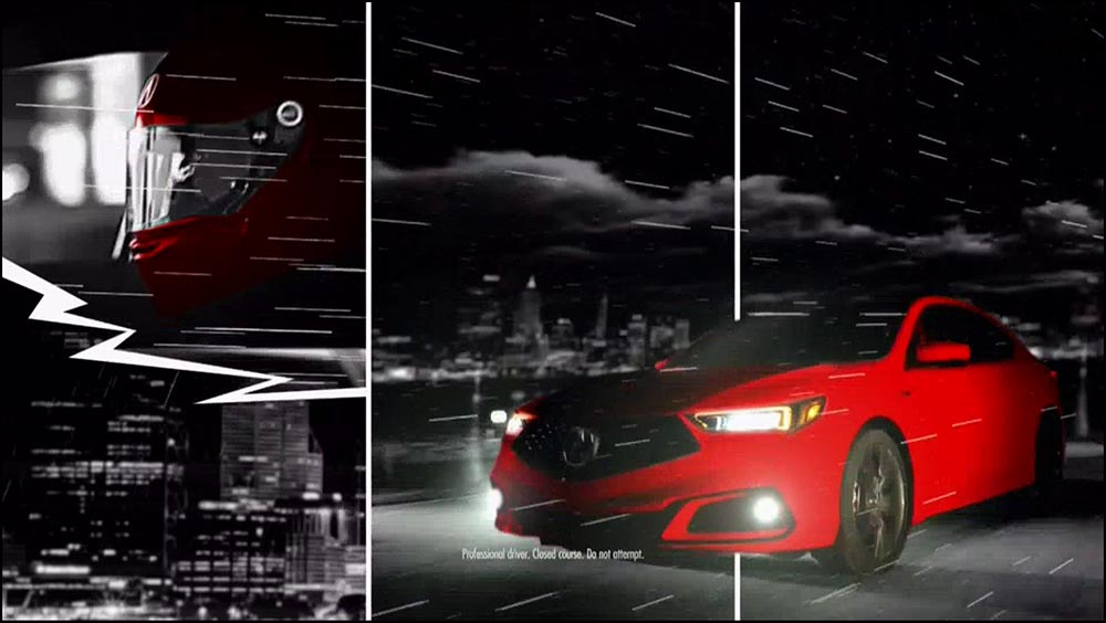 Figure 6.23 An Acura commercial breaks up the composition with frames within the television frame.