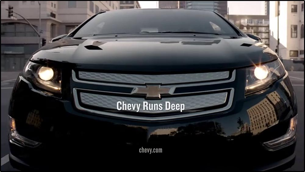 Figure 6.28 A wide-­angle lens distorts the hood of a Chevrolet car, making it appear wider than in reality.
