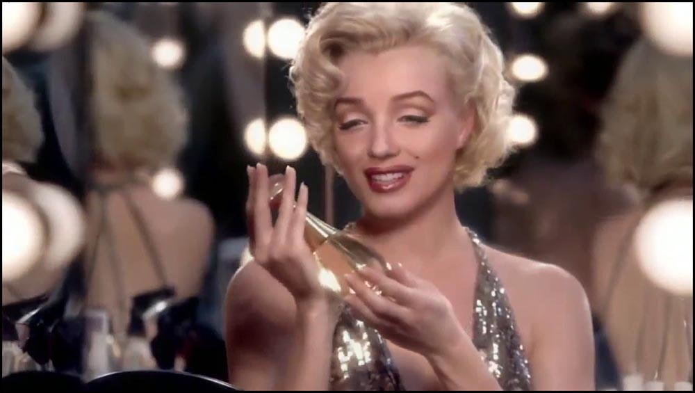 Figure 6.48 A Dior J'adore perfume commercial features a digitally re-­animated celebrity, Marilyn Monroe, who died over 50 years ago.