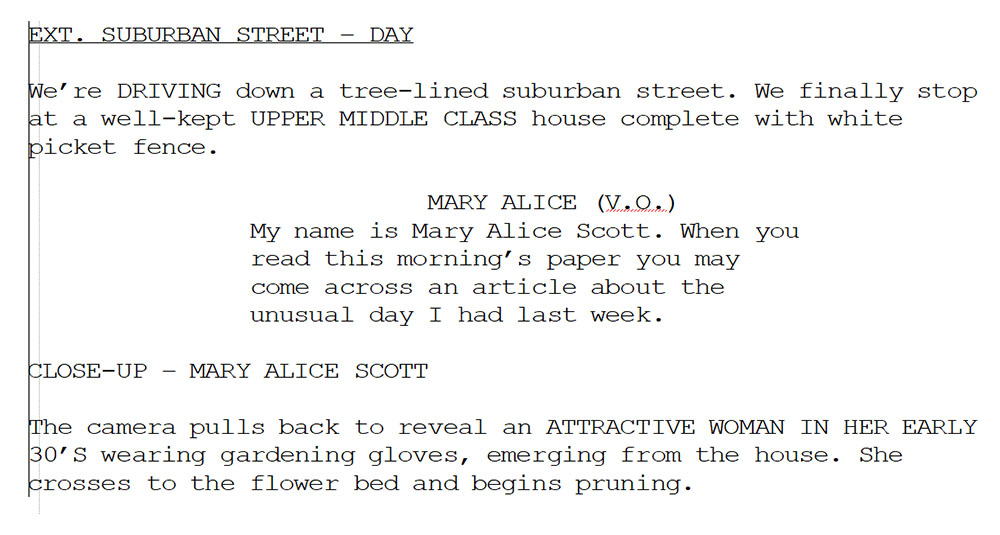 Figure 7.1 Mark Cherry's script for the Desperate Housewives pilot indicates setting and dialogue in a strict format.