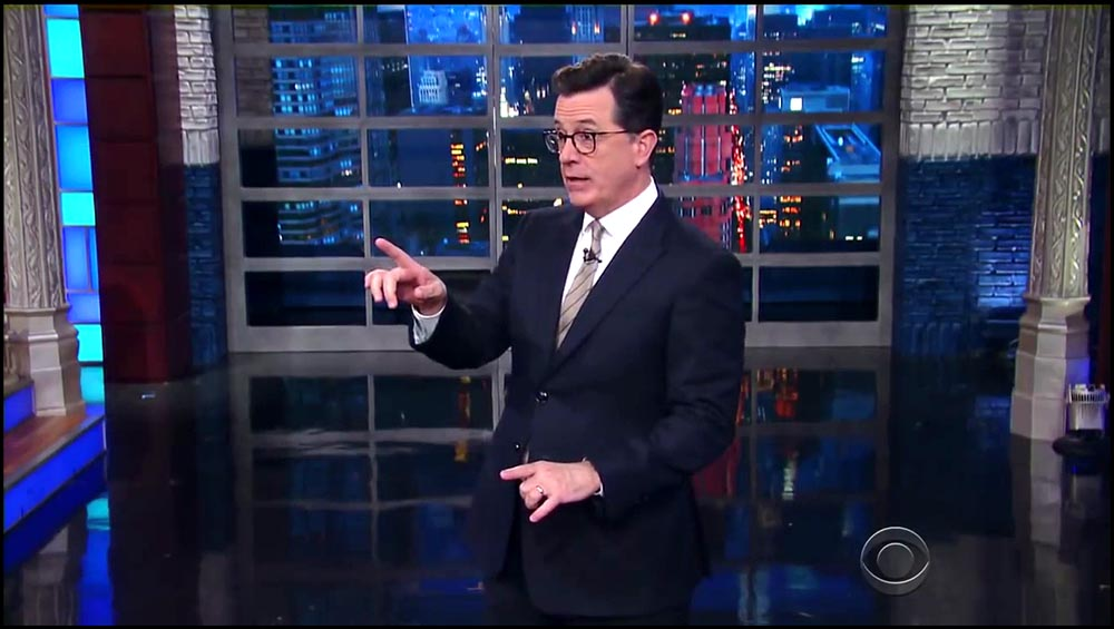 Figure 8.16 Stephen Colbert emerges from behind the desk to perform the monologue on The Late Show.