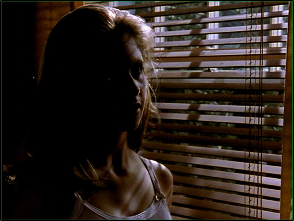 Figure 8.34 Buffy the Vampire Slayer: Buffy's face is half in darkness, and shadows from Venetian blinds cross her chest as she talks to Angel . . .