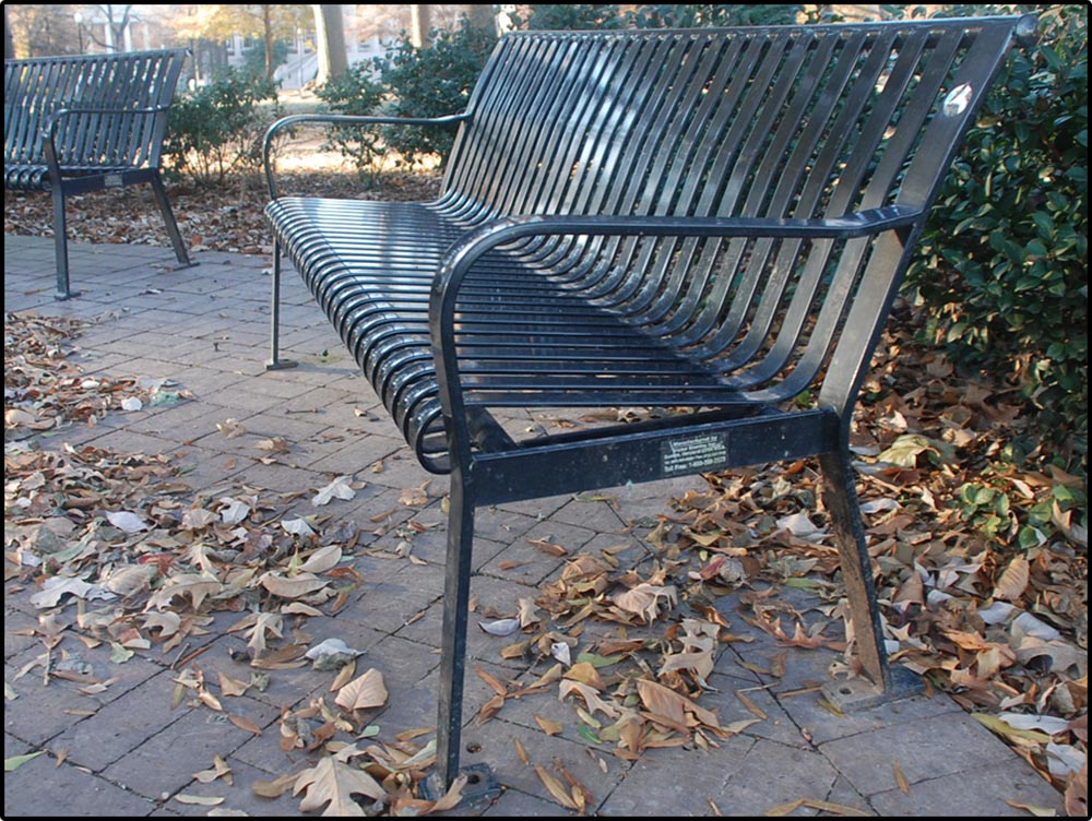 Figure 9.2 A wide-­angle focal length emphasizes the distance between the bench's armrests . . .