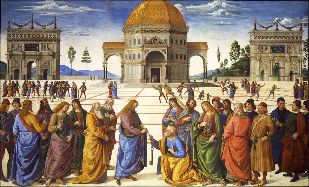Figure 9.4 Linear perspective in Renaissance paintings such as Christ Handing the Keys to St. Peter became the basis for the modern norm of camera lenses.