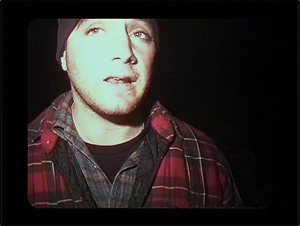 Figure 9.13 The Blair Witch Project uses low-­quality images to suggest that this fiction film is a documentary—­as is indicated by the washed-­out facial features.