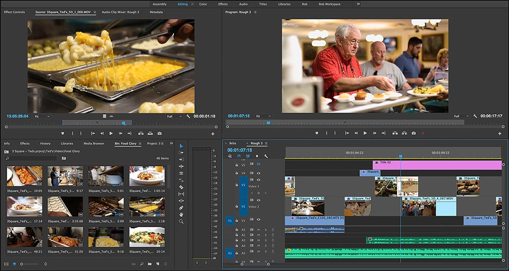 "Figure 10.2 A cooking show is edited in Adobe Premiere, a widely used nonlinear editor. The screen is divided into four ""panels"": the source monitor (upper left), the program monitor (upper right), the bin (lower left), and the timeline (lower right)."