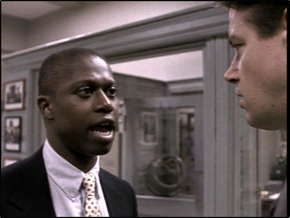 Figure 10.31 Homicide: Detective Frank Pembleton chews out a rookie. His tirade is interrupted with a jump cut to . . .