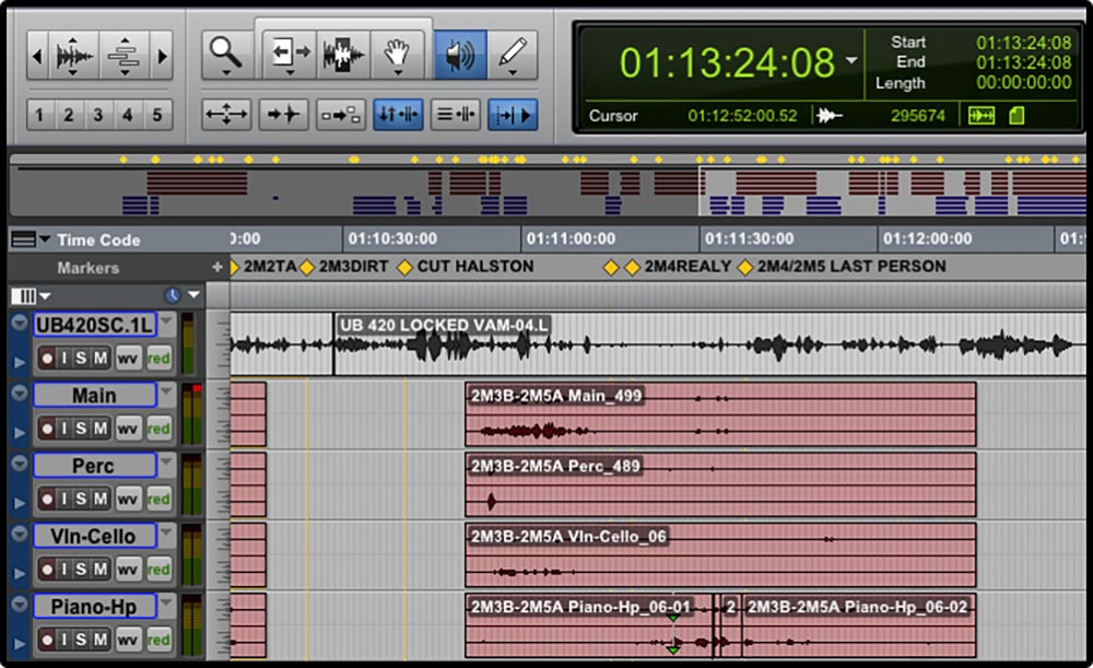 Figure 11.1 A digital audio workstation (Pro Tools) separates sound into separate tracks.