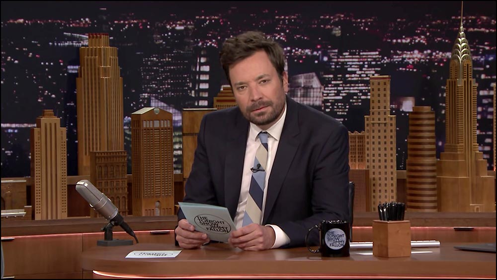 Figure 11.9 A lavaliere mike is barely noticeable on Jimmy Fallon's tie.