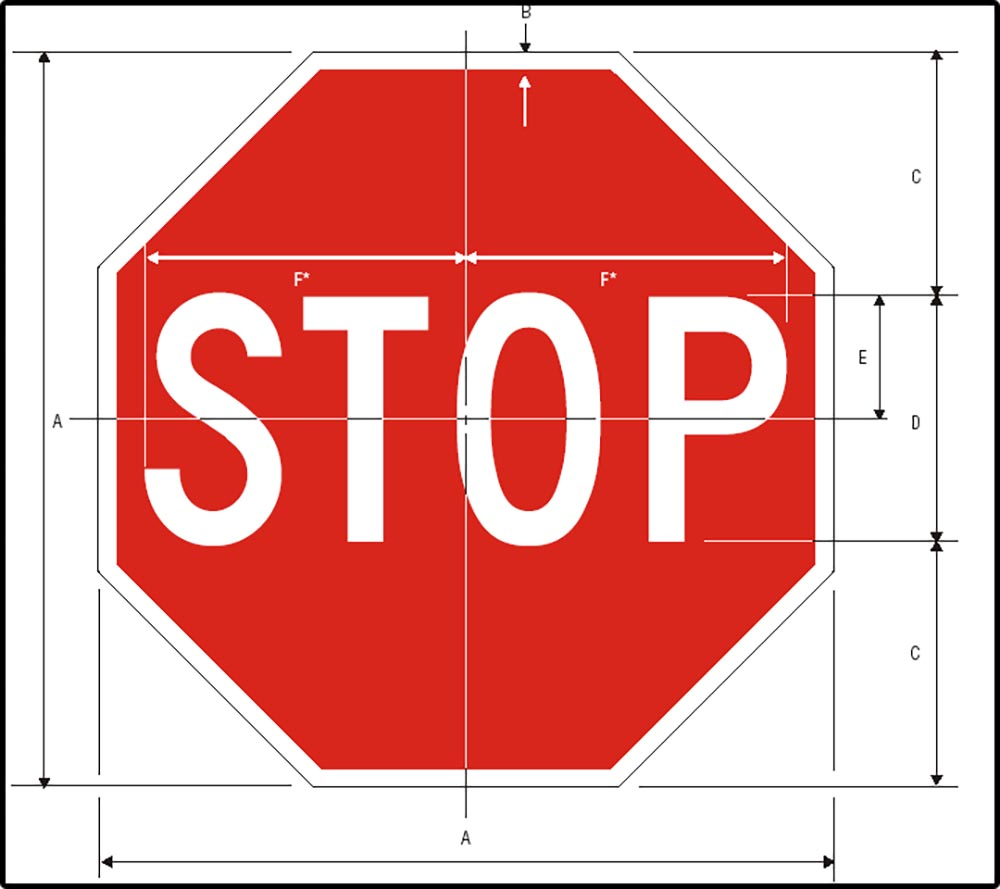 Figure 13.3 A stop sign, with dimensions marked on it that indicate Federal Highway Administration requirements.