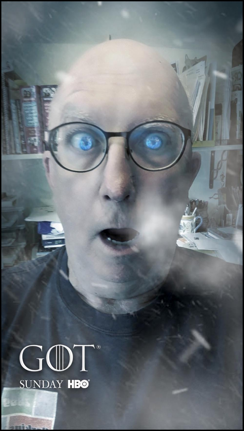 Figure 14.1 The author as seen through the Game of Thrones Snapchat lens. HBO invited fans to create White Walker versions of themselves in anticipation of the eighth season premiere.