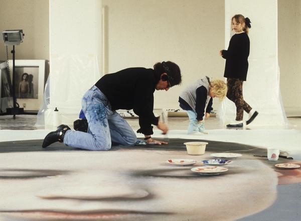 "Helnwein working on ""Kindskopf"""
