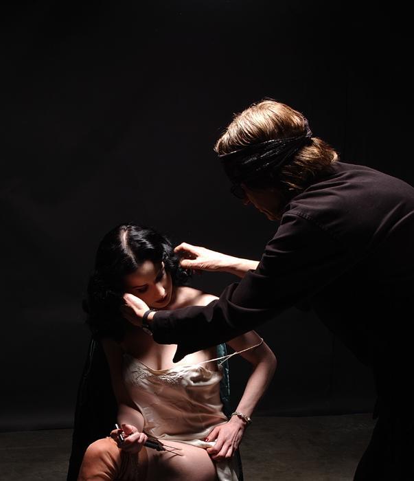 Helnwein working with Dita von Teese