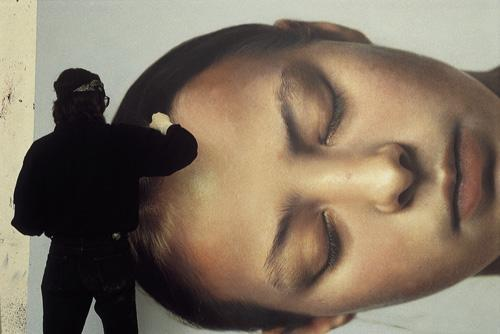 "Helnwein working on ""Head of a child 2"""