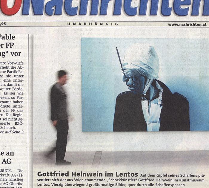 Helnwein im Lentos Museum of Modern Art, Linz, Oberösterreichische Nachrichten, front page