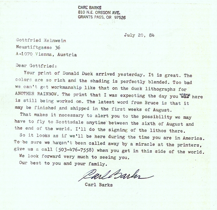 Letter from Carl Barks