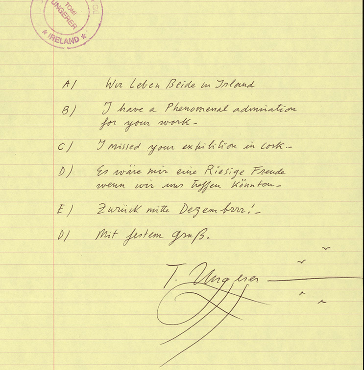 Letter from Tomi Ungerer