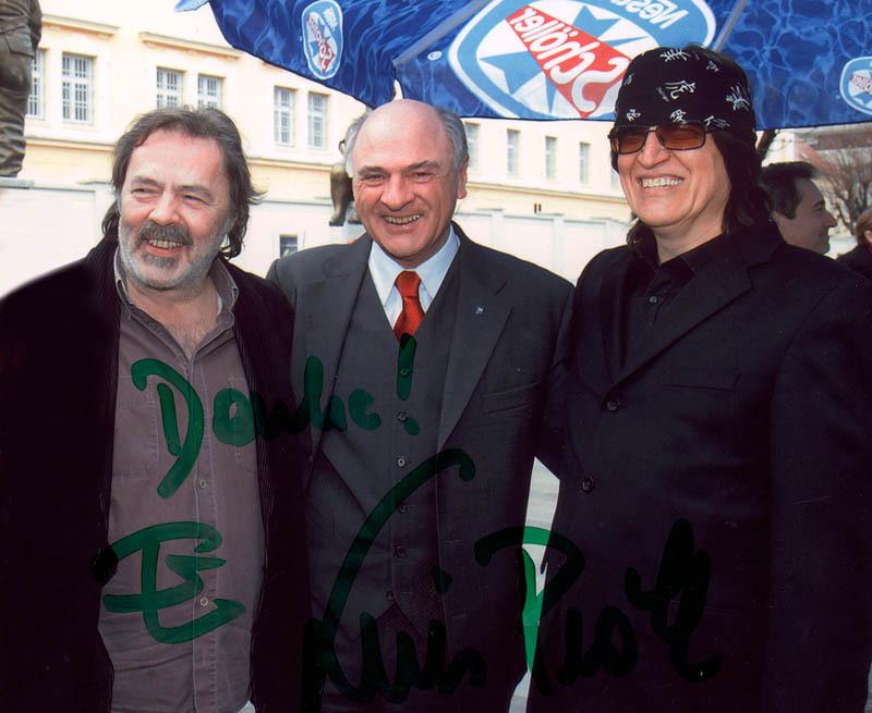 Manfred Deix, Landeshauptmann Erwin Pröll und Gottfried Helnwein