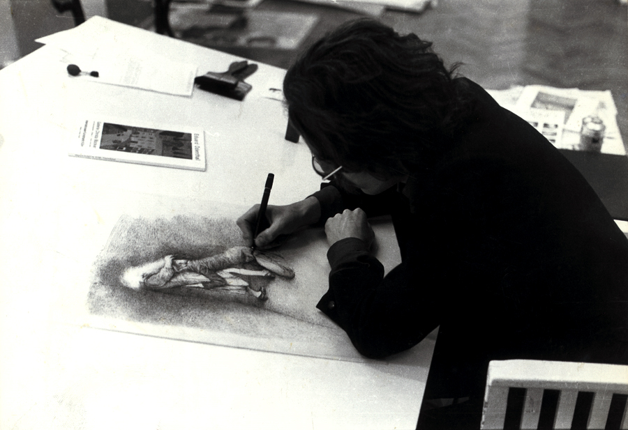 Helnwein working on ink-drawings