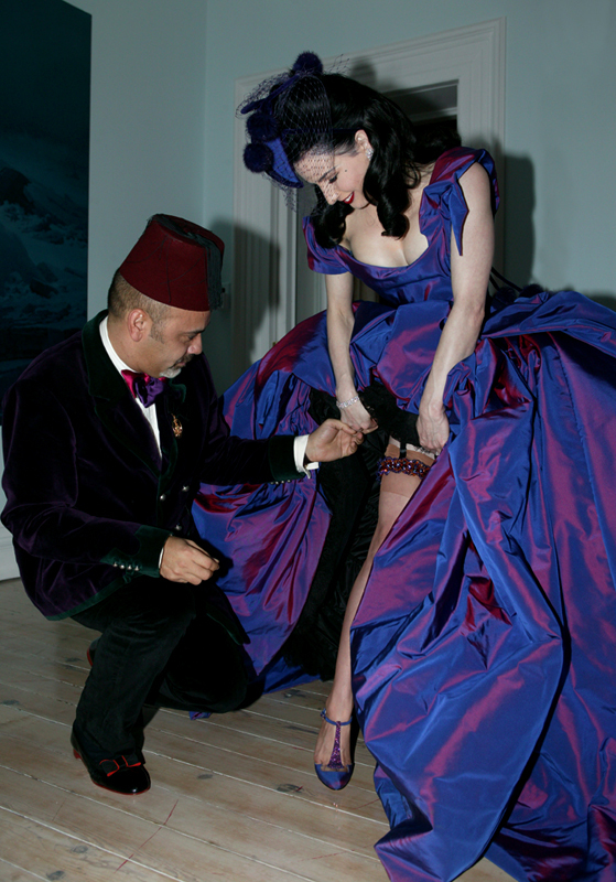 Christian Louboutin and Dita von Teese at her wedding with Marilyn Manson at Castle Gurteen le Poer