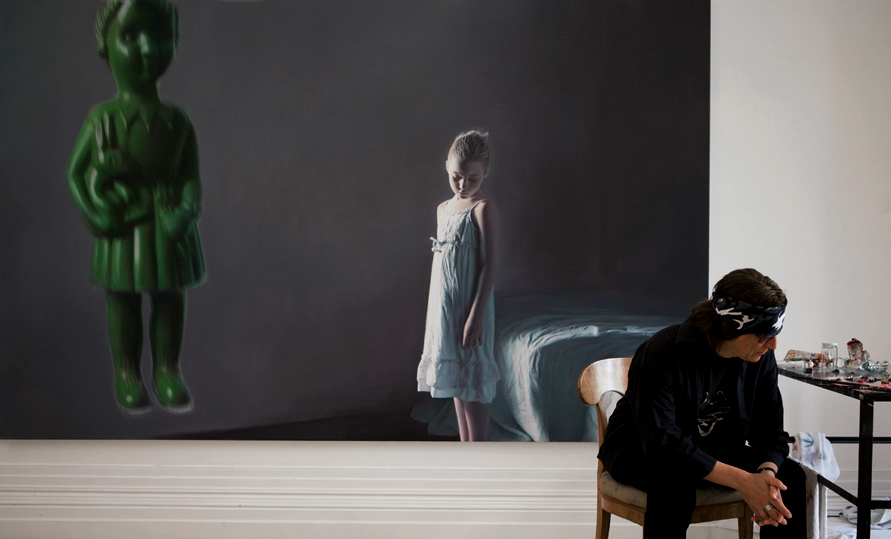 "Helnwein working on ""The Disasters of War"" series"
