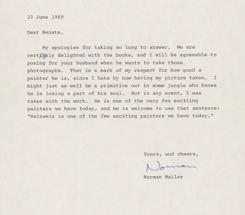 A letter from Norman Mailer to Renate Helnwein