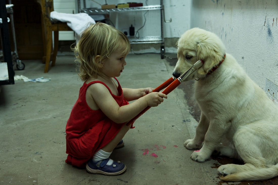 Croí and Daisy helping in the studio