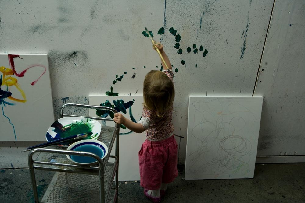 Croí at work in Gottfried's studio