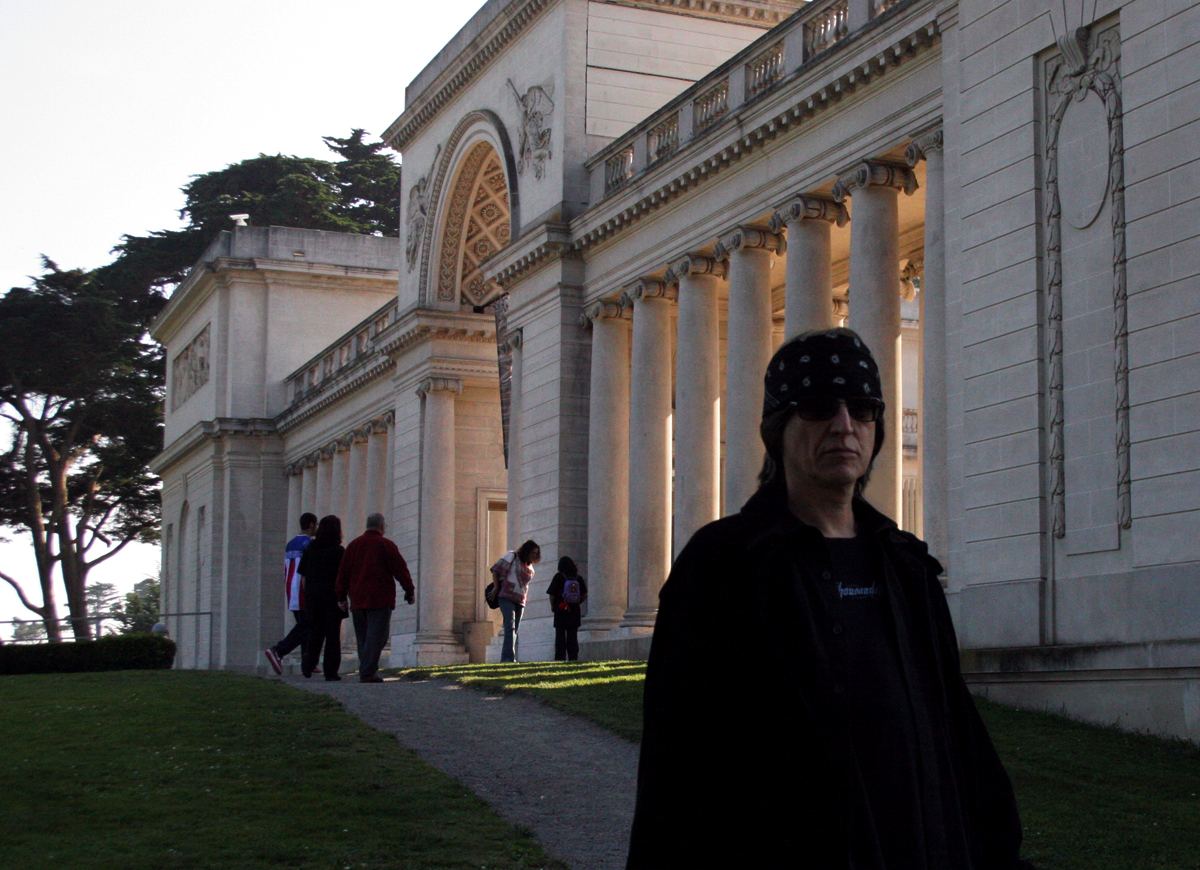Gottfried Helnwein in front of the California Palace of the Legion of Honor