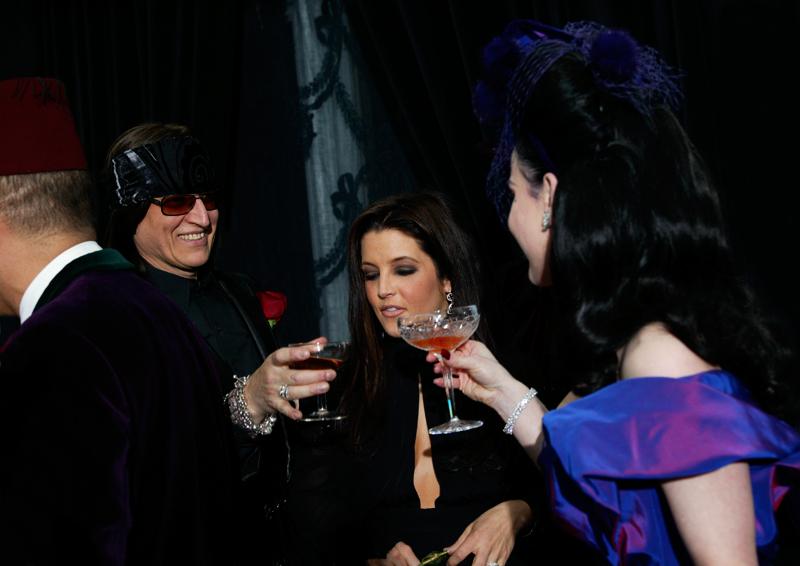 Gottfried Helnwein, Lisa Marie Presley and Dita von Teese at the wedding, Castle Gurteen le Poer