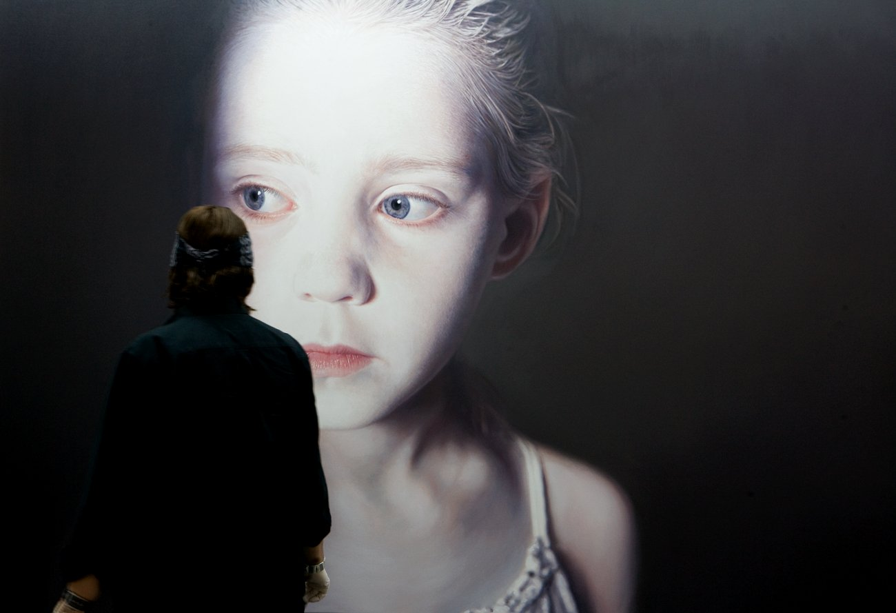"Helnwein working on ""The Murmur of the Innocents 1"""