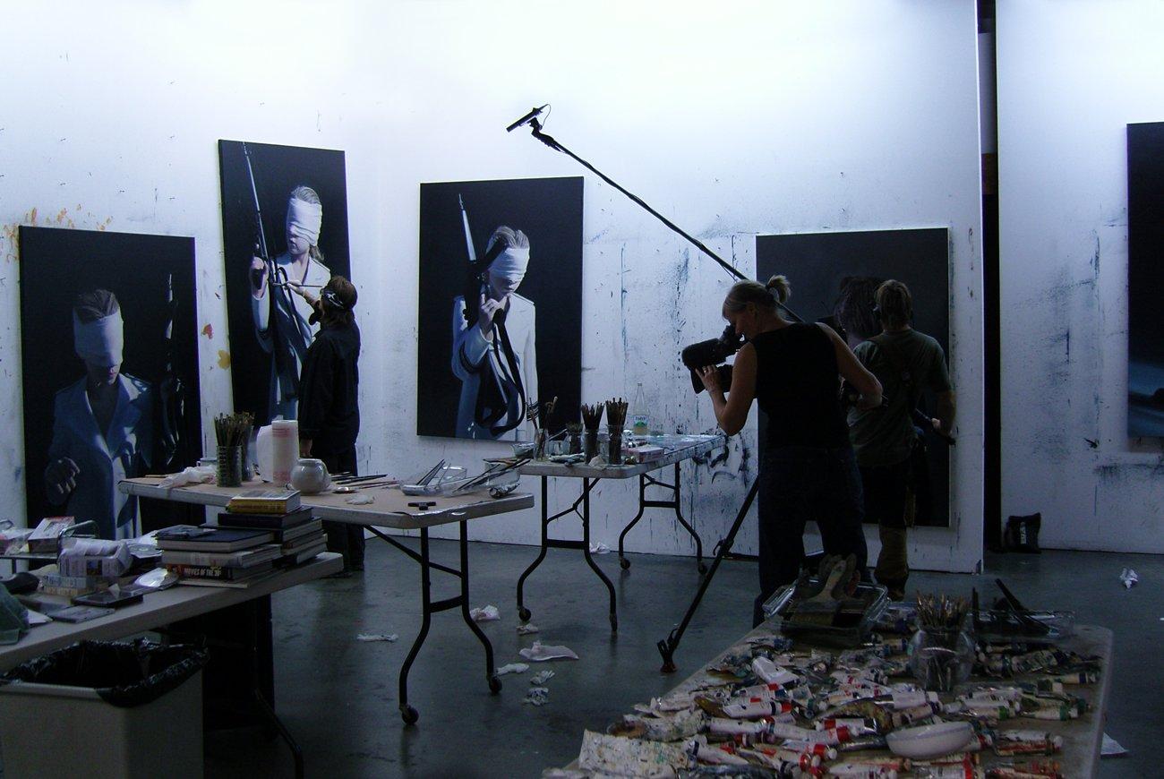 "Filming for the documentary ""Helnwein - The Silence of Innocence"""
