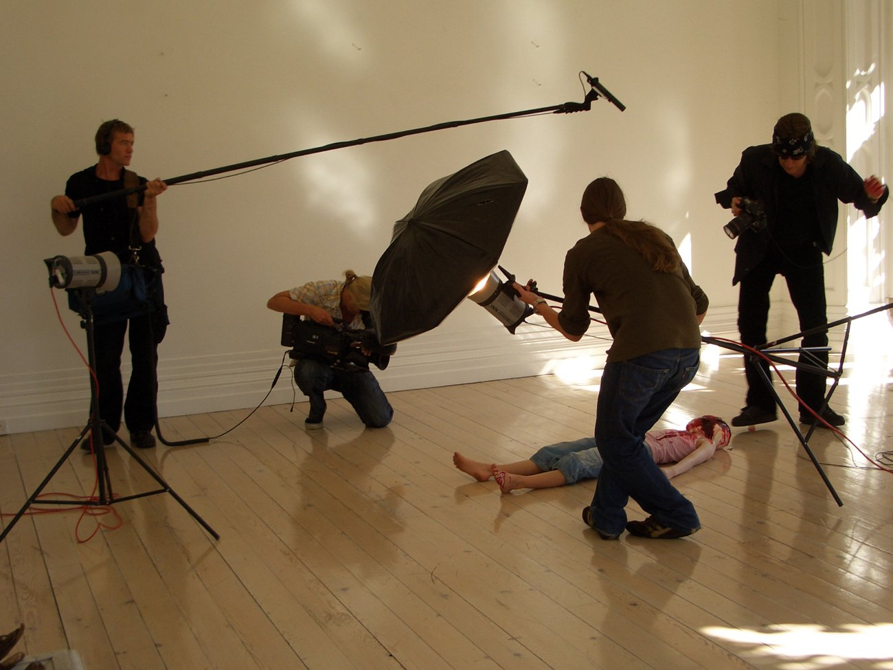 "Filming for the documentary ""Helnwein - The Silence of Innocence"""