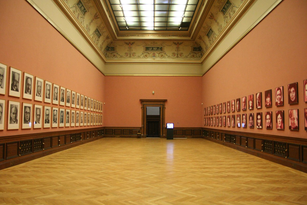 "Installation ""48 Portraits"" by Gottfried Helnwein and ""48 Portraits"" by Gerhard Richter"