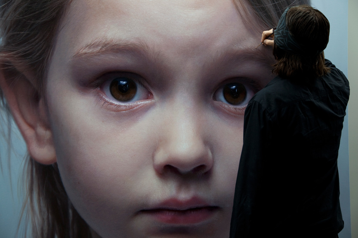Helnwein working on 'Head of a Child'