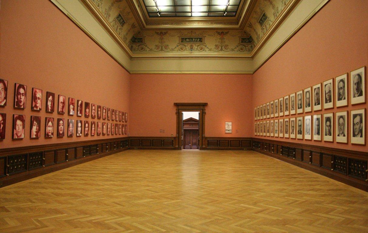 """Installation """"48 Portraits"""" by Gottfried Helnwein and """"48 Portraits"""" by Gerhard Richter, Galerie Rudolfinum, Prague"""
