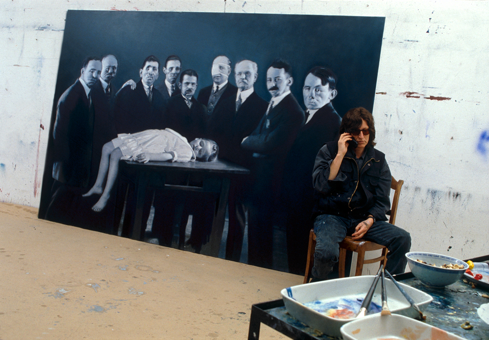 "Helnwein with ""Epiphany III (Presentation at the Temple)"""