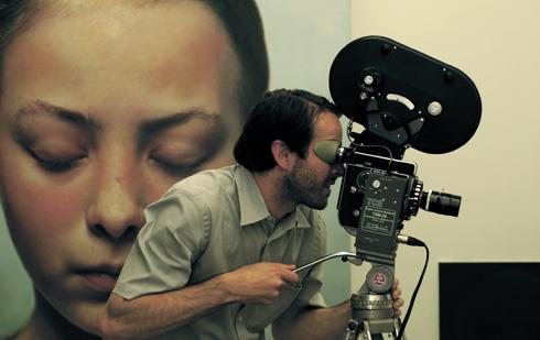 Jason Lee filming for the documentary on Gottfried Helnwein