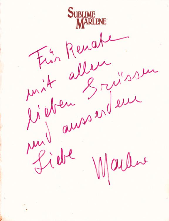 Note for Renate Helnwein by Marlene Dietrich