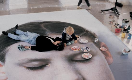 "Helnwein and son Amadeus on ""Kindskopf"" (Head of a Child)"