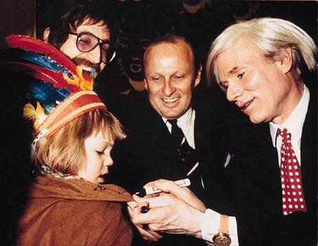 Andy Warhol with Gottfried Helnwein and his son Cyril
