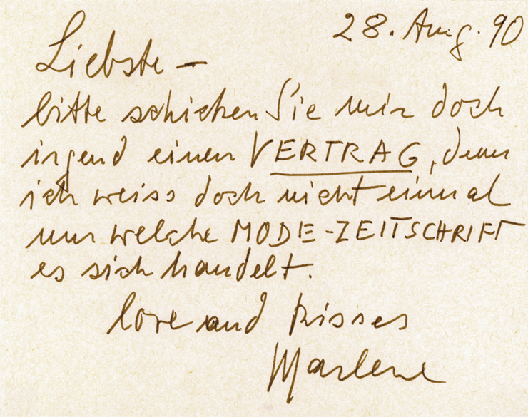 Letter to Renate Helnwein, by Marlene Dietrich