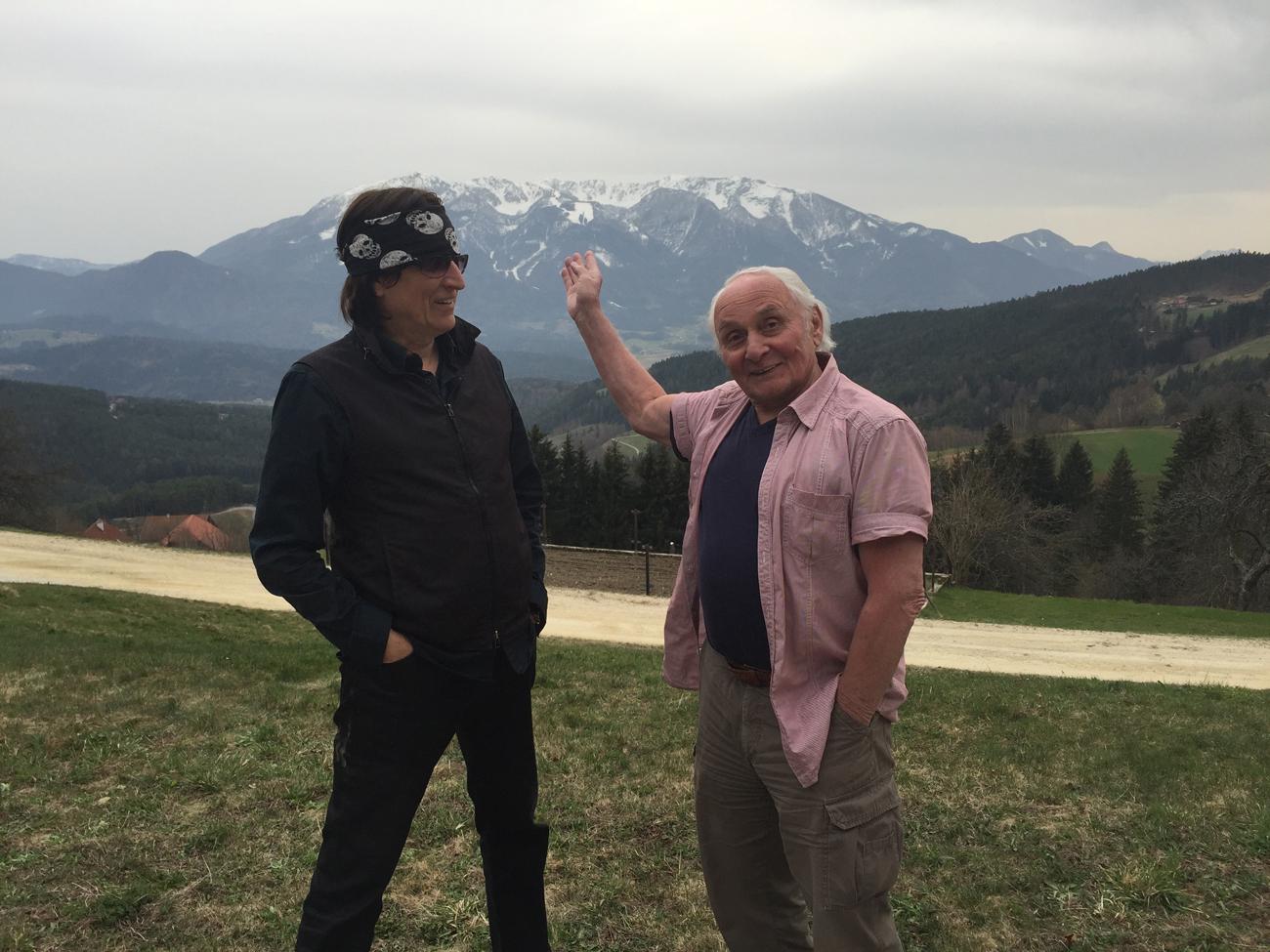 Helnwein and Johann Kresnik in the mountains of Carinthia, Austria