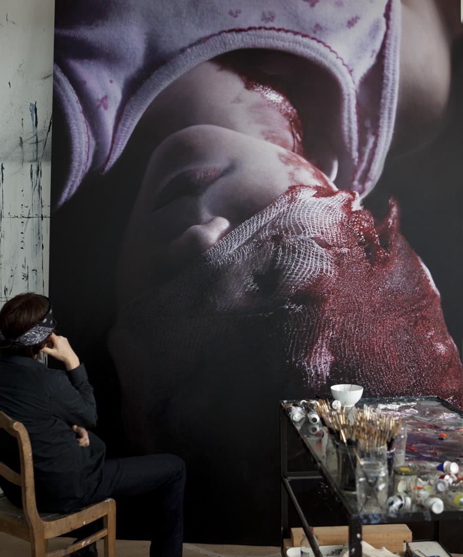Helnwein in the studio, Ireland