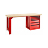 FACOM 2M ROLL WORKBENCH WITH WOODEN TOP